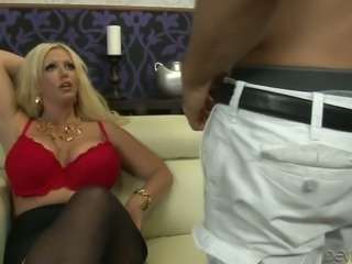 Jaw-dropping goddess Alura Jenson knows how to give a sloppy blowjob