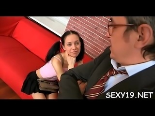 Cumshot lesson from elderly teacher