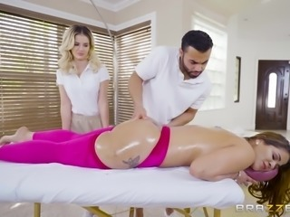 The dirty masseur was getting a lesson from a hot masseuse, and he was doing...