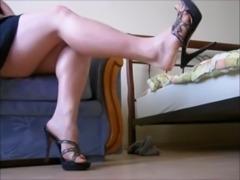 Bare Feet In Open High Heels 4