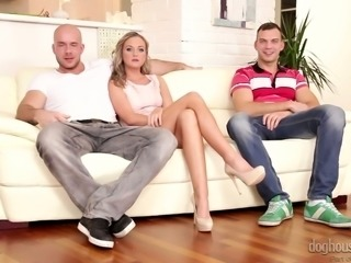 Lovely long legged blondie on the couch is excited to have sex with bisexual guys