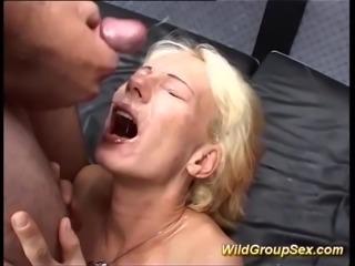 My skinny mom enjoys her first wild bukkake gangbang fuck orgy