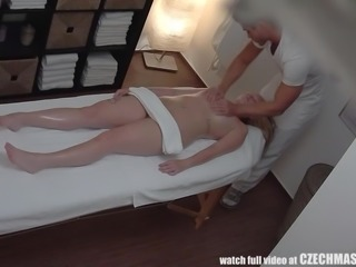 The Czech babe came here without any naughty thoughts, but the masseure made her horny, by rubbing his rough hands all over her soft body, giving special attention to private parts. While he continued massage, the horny blonde sucked his cock and finally, got fucked by him.