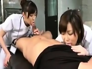 Two cock hungry Asian nurses give one of their patients a b