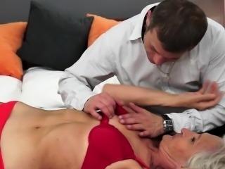 Smalltit grandma banged in her hairy pussy
