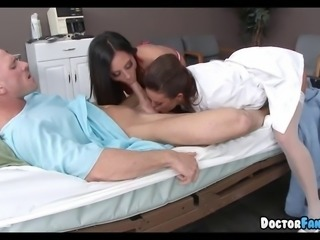 Two Hot Nurses share His Dick