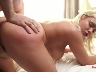 Blonde hot busty babe on the couch seduced and fucked with big cock