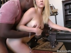 Fine blonde young bimbo is addicted to big black dick and interracial sex