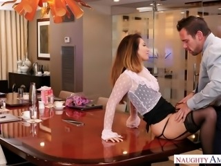 Eva Lovia uses this motto all her life and luckily, this simple idea works perfectly. So, when her boss Johnny, approaches to talk about her faults, she decides to divert his attention and begins to demonstrate her amazing round ass. Of course, he immediately got horny and... Join and enjoy!