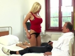 Hottie Donna Bell seduces and humps a muscular doctor