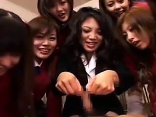 Lucky guy has a gang of wild Asian schoolgirls sucking his