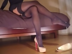 Teasing in high heels & stockings