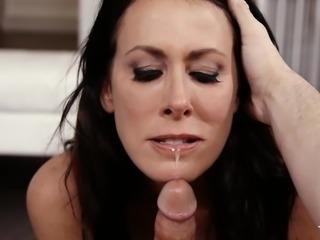 busty reagan chokes on a fat cock