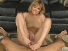 She knows where his sensitive spot is on his cock, and she uses her feet to...