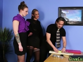 Clothed domina pounded