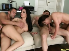 Brunette with juicy butt and hairless muff gets cum drenched