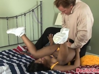 Bigtitted ebony cheerleader pounded by oldguy