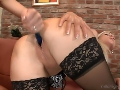 Playful white chick and blonde housemaid get in lesbian action on the couch