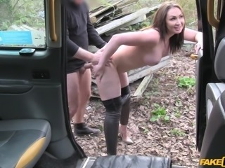 As he bent her over on inside the van, this hot brunette felt her pussy getting wetter. Sucking his hard cock in the van made her so horny and she began feeling happy, that she got tricked into paying the hefty fine with her body. It all felt so wrong and yet being this naughty made her cunt even wetter