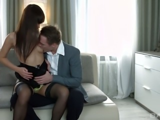 Angie loves to fuck with her panties on and she wants to be used like a sex toy