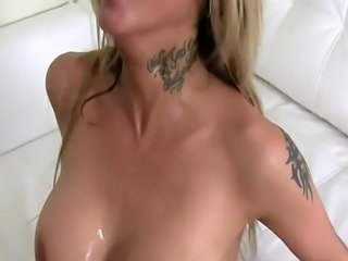 Busty amateur drenched with cum at casting