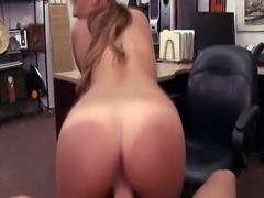 Sexy and brunette Waitress tries to sell her bag sells herself