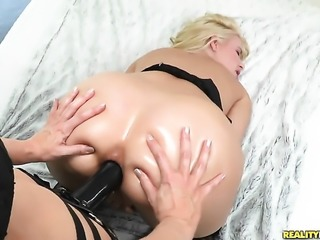 Blonde Anikka Albrite with phat ass and trimmed snatch loves the way Ashley Fires rubs her cunt
