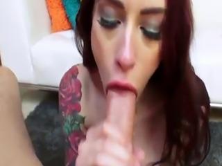 Gaping pornstar sucks cock on her knees
