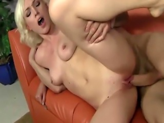 Sensual blonde sweetheart rides a fat rod