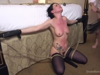 sub gets tied to the bed and used as a blowjob hole