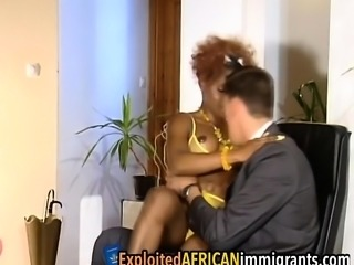 African babe takes long white schlong in muff