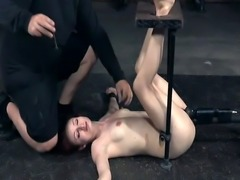Bound redhead sub clamped and strapped