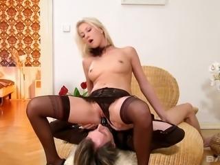 Slim blonde Gorgette loves facefucking her BF before sex