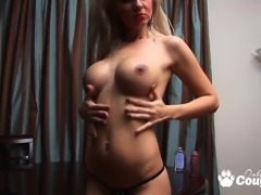 Oiled boobs blonde whore dildoing hard
