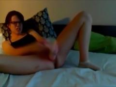 Dirty talking girl fucks big dildo