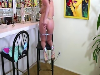 AdultMemberZone  Racheles masturbating her pussy at the hostels bar