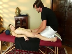 Petite babe banged by masseurs fat cock