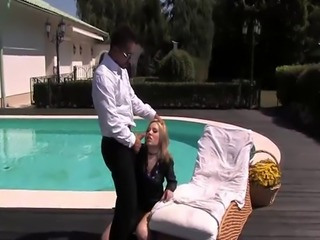 Classy blonde gets screwed by the pool
