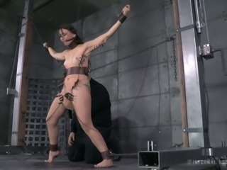 Incredibly horny master put clothespins on his slave's body