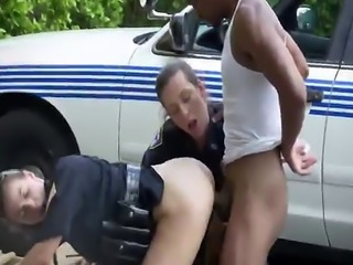 Big ass sluts in cop uniforms are having outdoor threesome with black