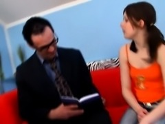 Old teacher is enchanting enjoyable babe's pussy
