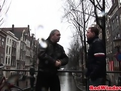 Booted dutch hooker sucks tourist cock