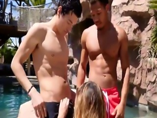 Sexy blonde gets double penetrated by a swimming pool