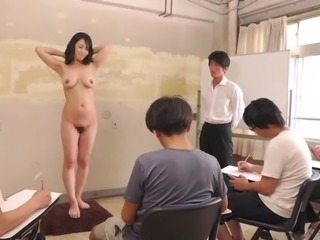 Subtitled CMNF ENF shy Japanese milf nude art class in HD