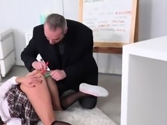 Cute schoolgirl gets seduced and fucked by her older teacher