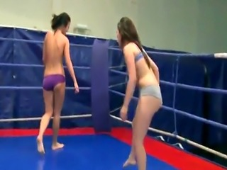 Lesbian babes wrestling and sixtynining