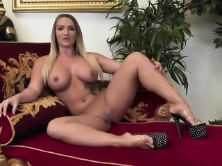 Angelina Valentine has her huge melons jizzed
