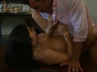 Big boobed MILF fucked brutally in a doggy position