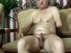 Old amputee gets cock sucked and rode on by blonde