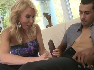 Sassy blonde cougar Erica Lauren fucks hot guy Alex Jones